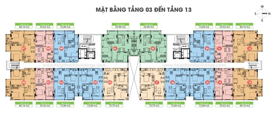 Mặt bằng tầng điển hình tầng 3-13 Hiệp Thành Building Quận 12