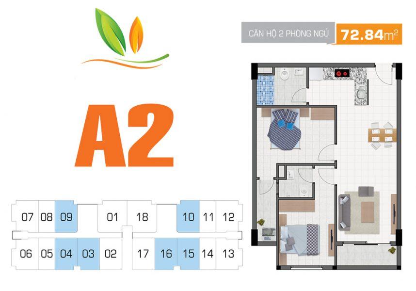 Thiết kế căn hộ 2PN 72.84m2 Hiệp Thành Building Quận 12
