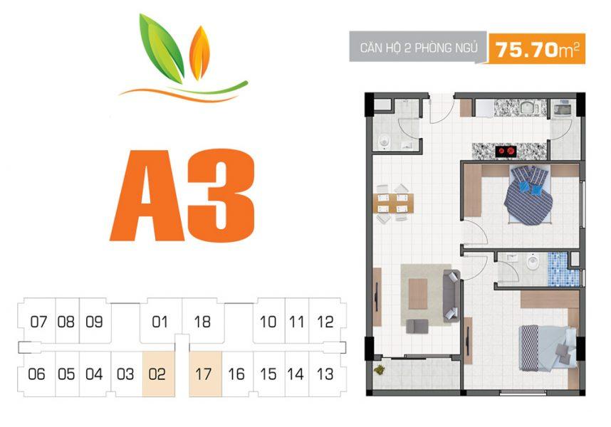 Thiết kế căn hộ 2PN 75.70m2 Hiệp Thành Building Quận 12
