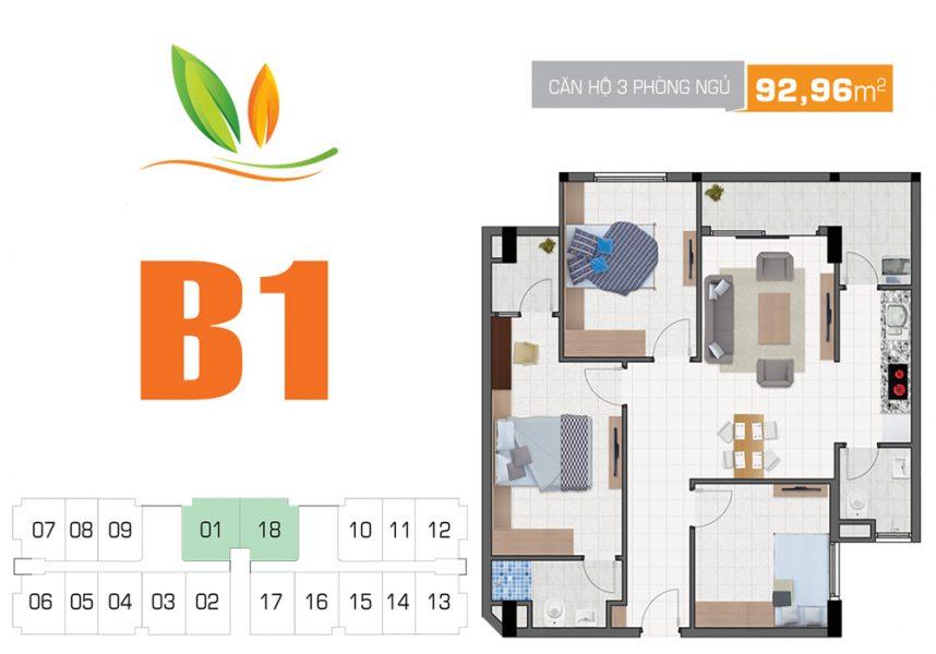 Thiết kế căn hộ 3PN 92.96m2 Hiệp Thành Building Quận 12