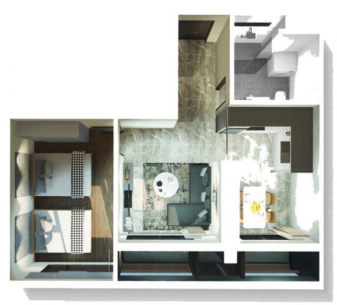 Thiết kế căn 1PN lớn dự án Kingdom 101 Cityapartment.com.vn