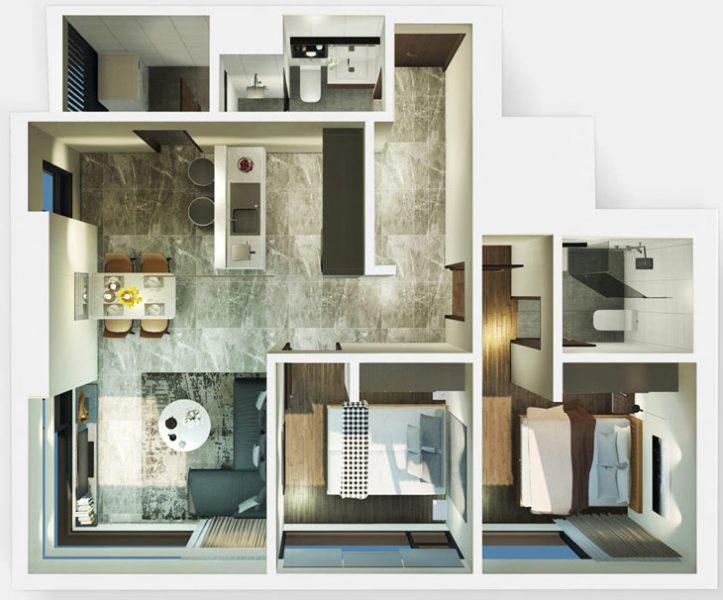 Thiết kế căn 2PN dự án Kingdom 101 Cityapartment.com.vn