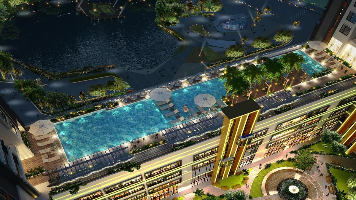 Phối cảnh hồ bơi skyview căn hộ Green Star Quận 7 góc chụp flycam- Cityapartment.com.vn