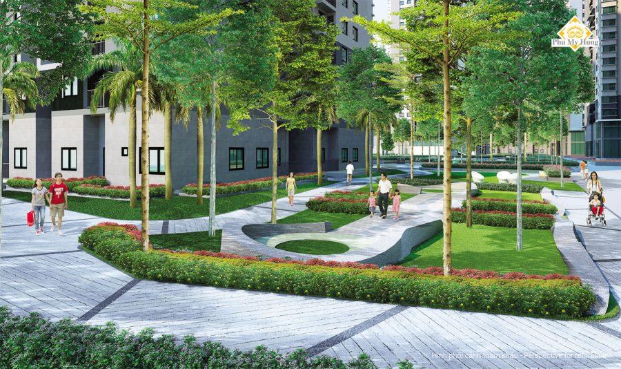 Phối cảnh 3D công viên nội khu dự án căn hộ Sài Gòn South Residences Quận 7
