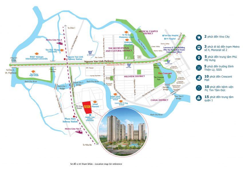 Vị trí dự án căn hộ Sài Gòn South Residences Quận 7