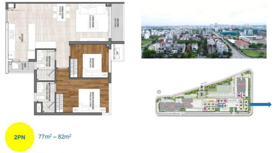 Thiết kế căn hộ 2PN dự án One Varendah Cityapartment.com.vn
