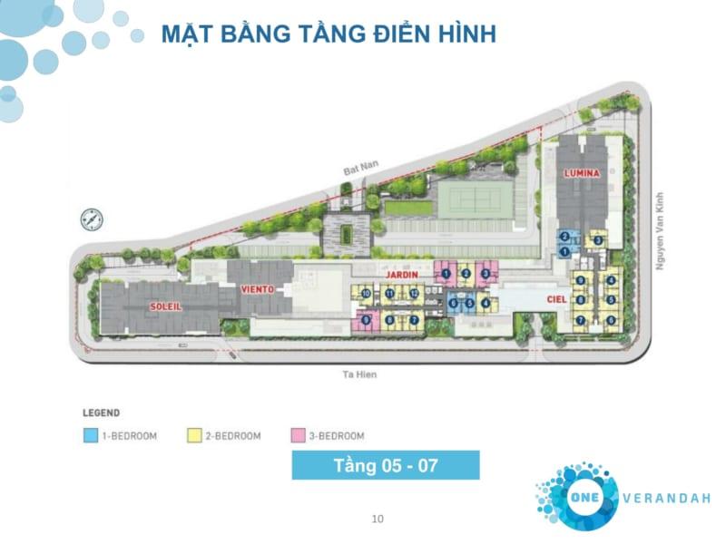 Mặt bằng tầng điển hình căn hộ tháp tầng 5-7 Cityapartment.com.vn