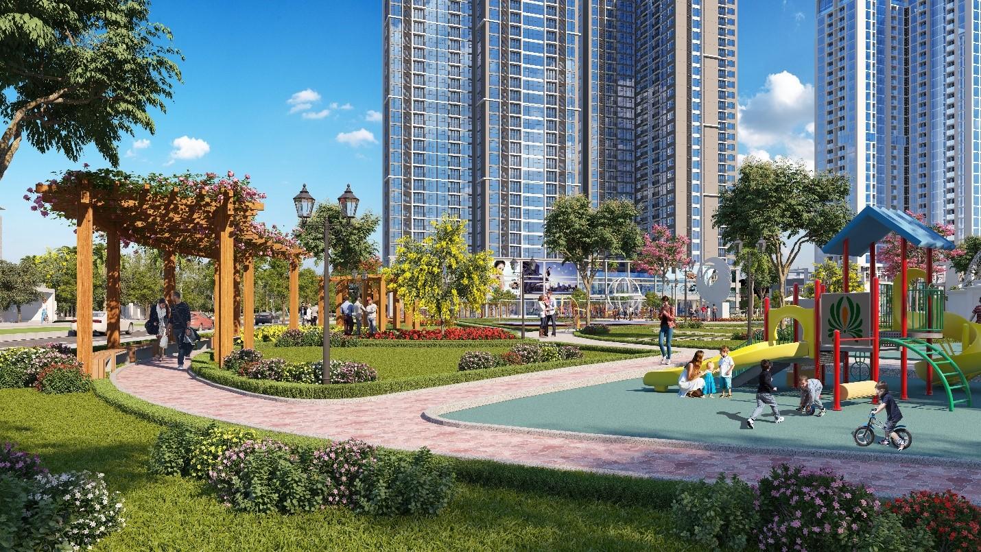 Khu công viên trẻ em nằm vị trí trung tâm dự án Eco Green Xuân Mai - Cityapartment.com.vn
