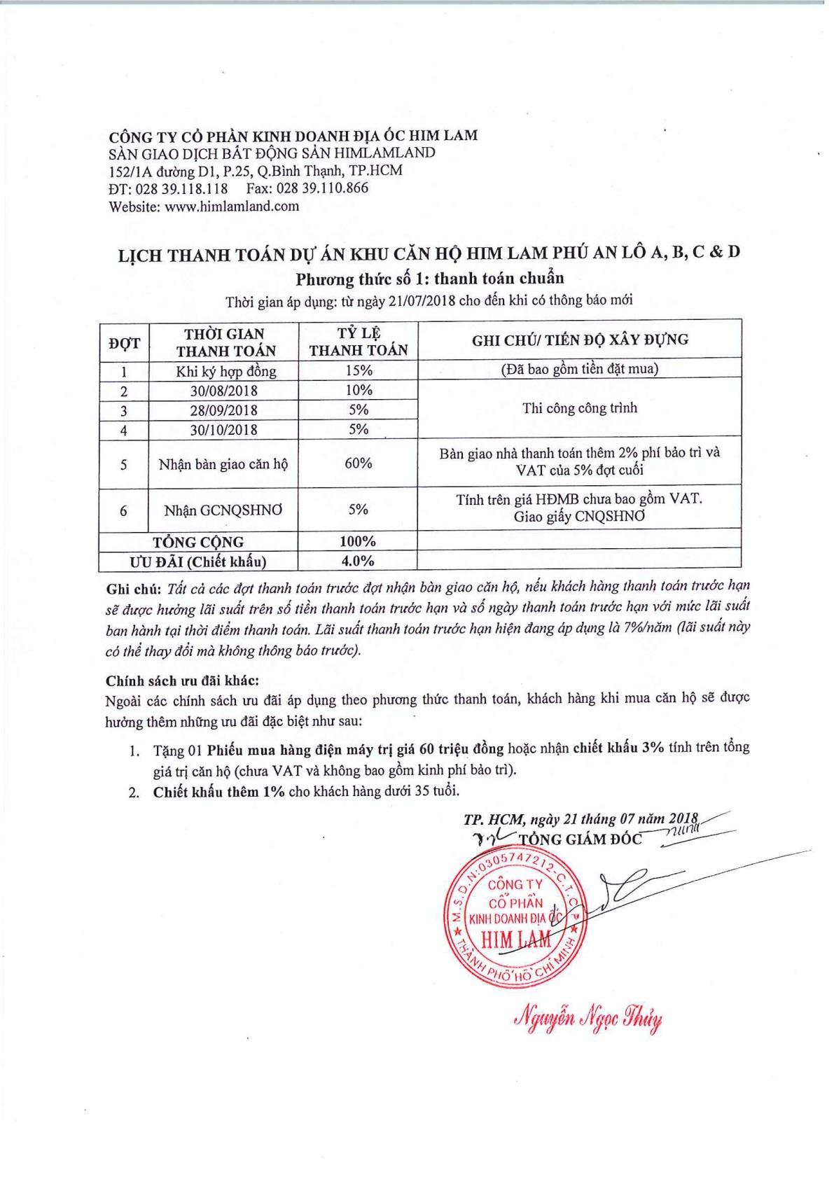 Phương thức thanh toán Him Lam Phú An số 1 - Cityapartment.com.vn