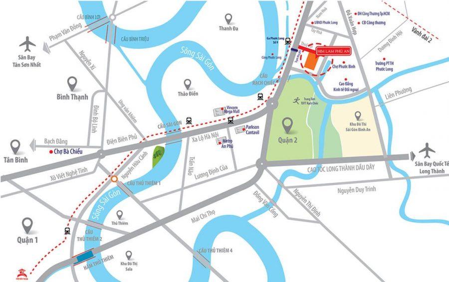 Vị trí dự án căn hộ Himlam Phú An - Cityapartment.com.vn