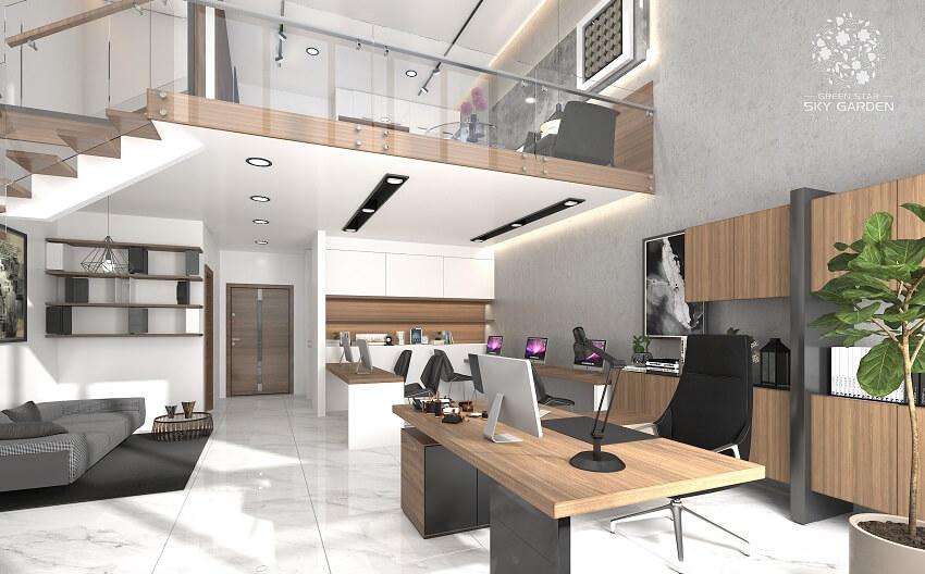 Phối cảnh căn hộ văn phòng Officetel Green Star có độ cao trần 6m