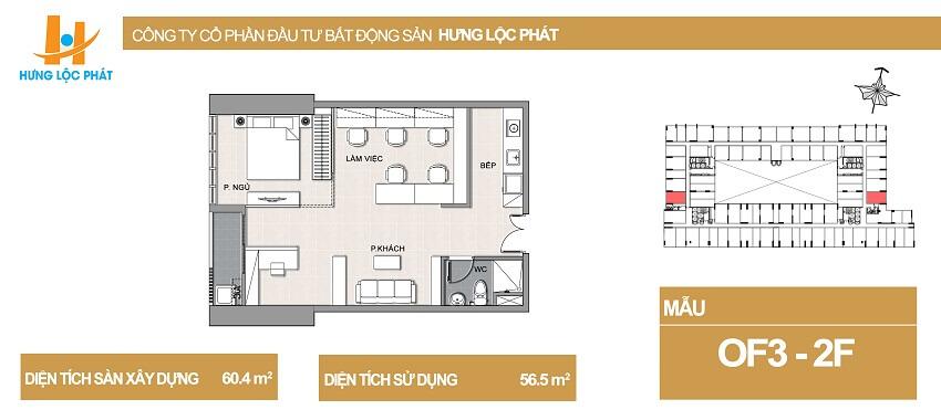 Thiết kế căn hộ Green Star Hưng Phát diện tích 60.4m2 - Cityapartment.com.vn