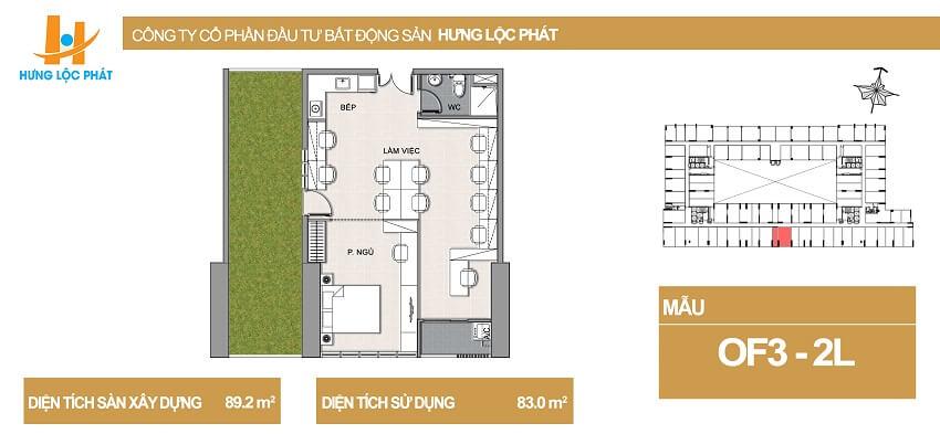 Thiết kế căn hộ Officetel Hưng Phát Q7 kết hợp sân vườn diện tích 85.2m2 - Cityapartment.com.vn