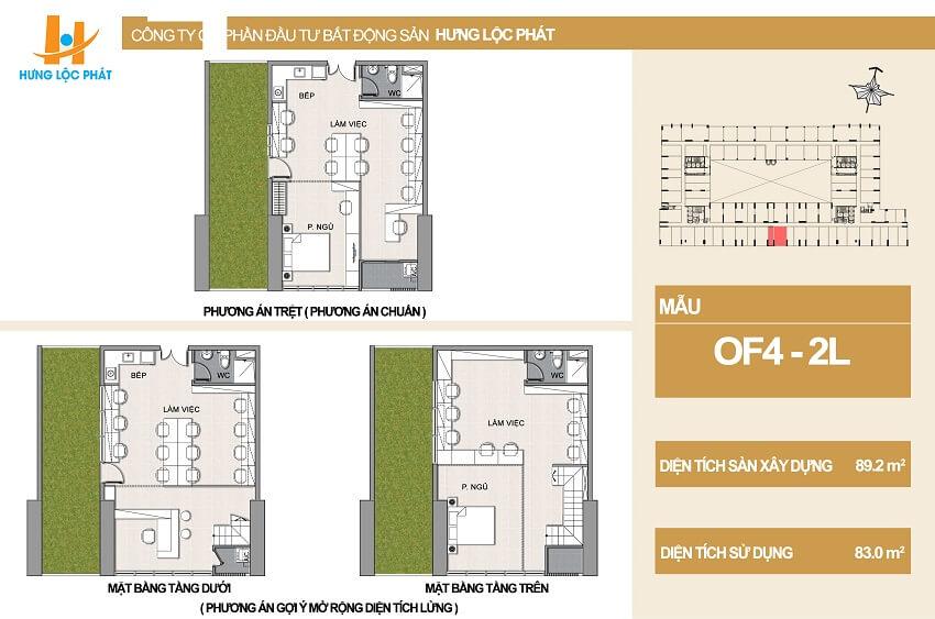 Thiết kế căn hộ Officetel Hưng Phát kết hợp sân vườn diện tích 89.2m2 - Cityapartment.com.vn