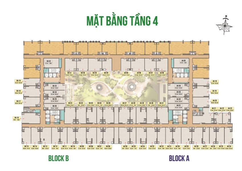 Mặt bằng tầng 4 khối văn phòng Officetel Green Star Hưng Phát - Cityapartment.com.vn