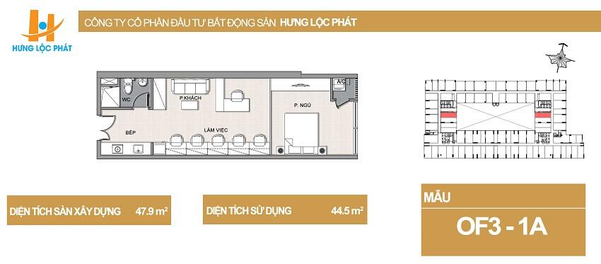 Thiết kế căn hộ Officetel Green Star Hưng Phát diện tích 47.9m2 - Cityapartment.com.vn