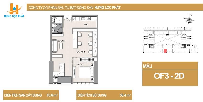 Thiết kế căn hộ Green Star Hưng Phát diện tích 63.6m2 - Cityapartment.com.vn