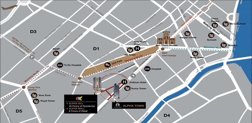 Vị trí vàng trung tâm quận 1 của dự án căn hộ Alpha City - Cityapartment.com.vn