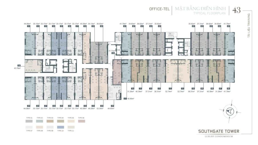 Mặt bằng Officetel Southgate Tower Quận 7 - Cityapartment.com.vn