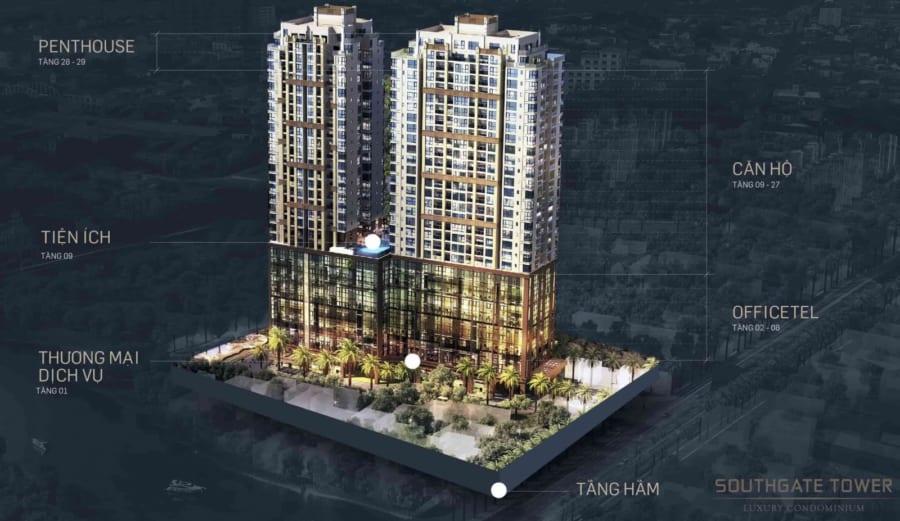 Phối cảnh 3D dự án căn hộ Southgate Tower 86 Nguyễn Thị Thập Quận 7