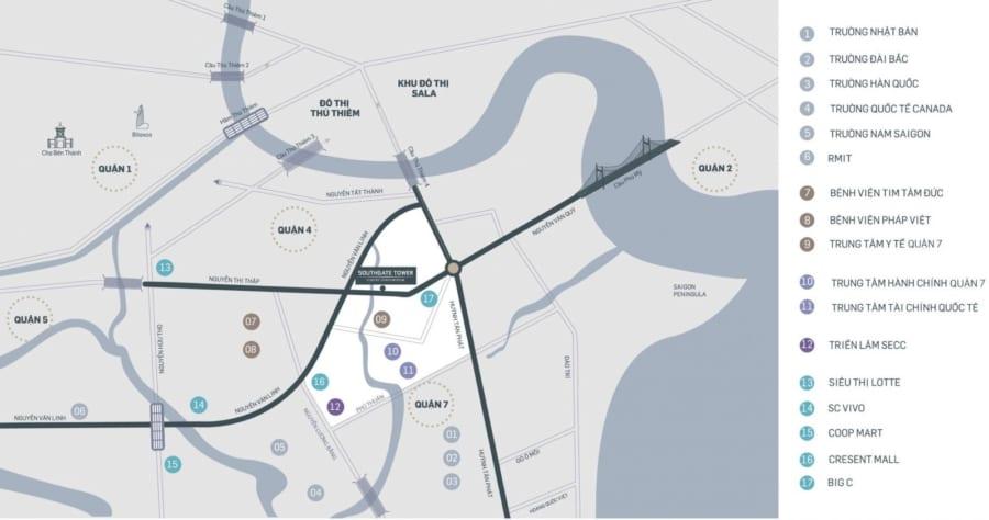Vị trí dự án căn hộ Southgate Tower 86 Nguyễn Thị Thập Quận 7