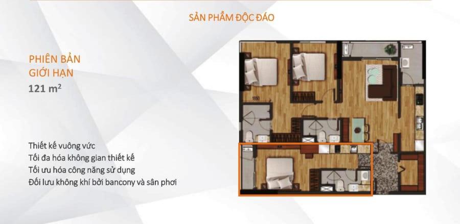 Mặt bằng căn hộ Akari City diện tích 121m2
