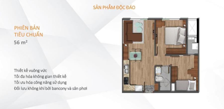 Mặt bằng căn hộ Akari City diện tích 56m2