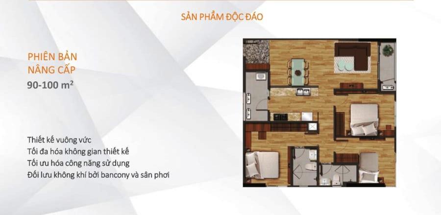Mặt bằng căn hộ Akari City diện tích 90m2