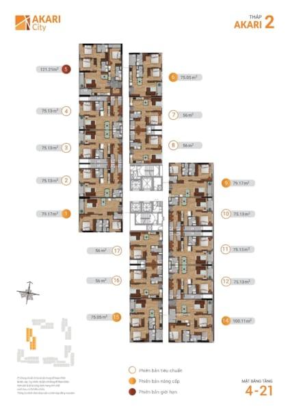 Mặt bằng tháp Akari 2 dự án căn hộ Akari City Nam Long