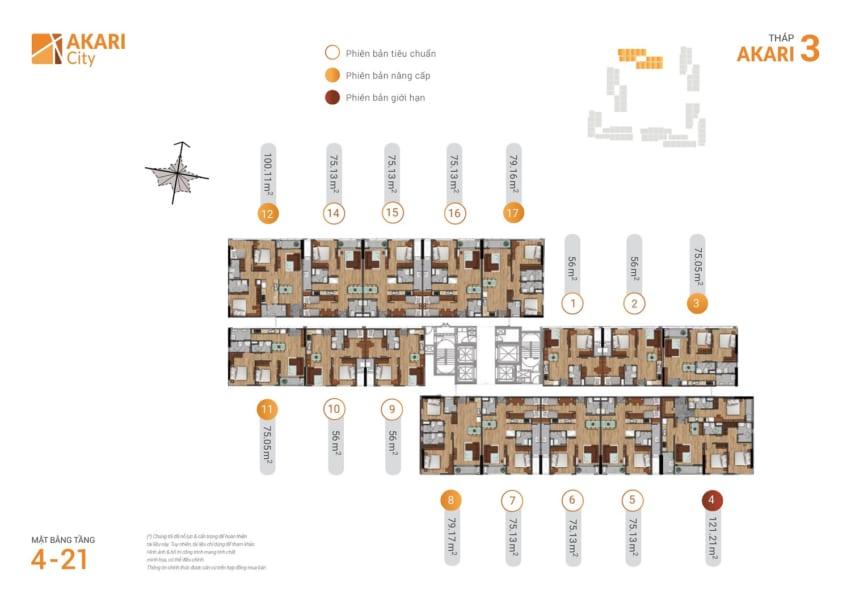 Mặt bằng tháp Akari 3 dự án căn hộ Akari City Nam Long