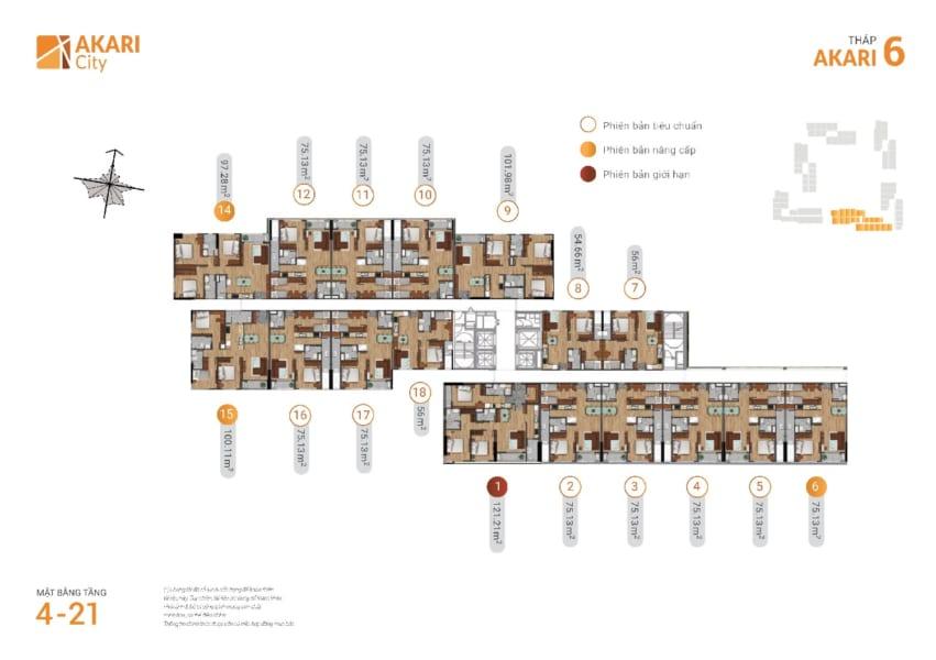 Mặt bằng tháp Akari 6 dự án căn hộ Akari City Nam Long