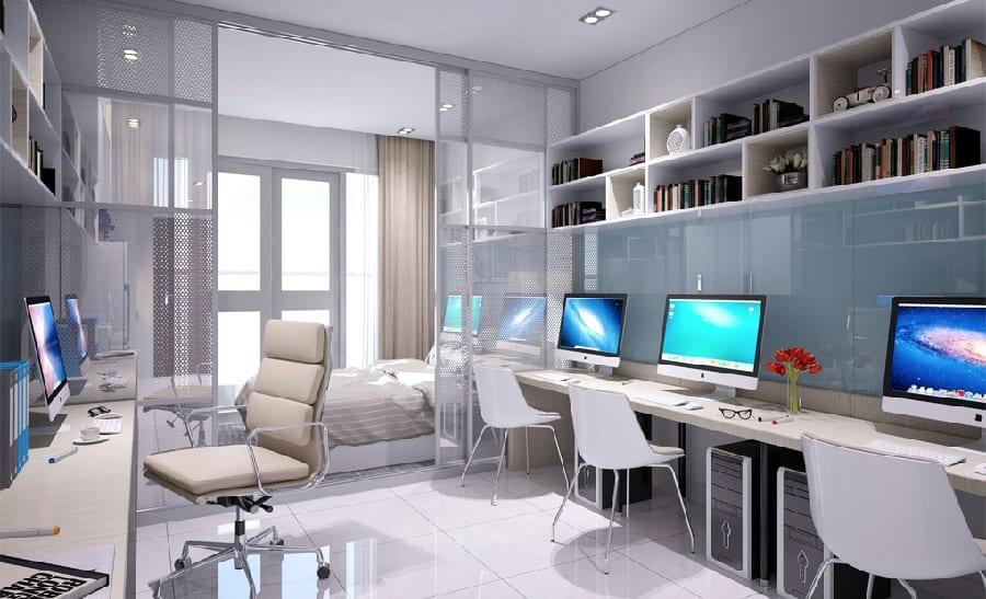 Phối cảnh văn phòng căn hộ Officetel hiện đại phù hợp các công ty vừa và nhỏ
