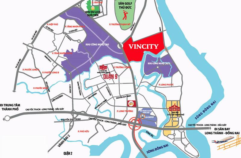 Vị trí lợi thế của nhà phố thương mại Vincity quận 9
