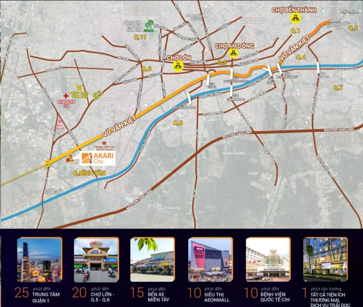 Vị trí dự án căn hộ Akari City Nam Long