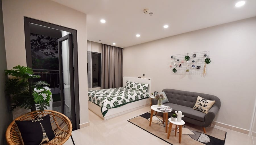 Thiết kế căn hộ studio Vincity Grand Park, một khu vệ sinh được cho là phù hợp với người độc thân, cặp vợ chồng.