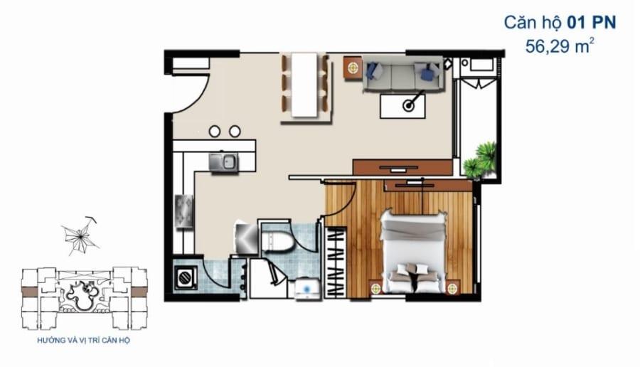 Thiết kế căn hộ De Capella 1PN 56.29m2