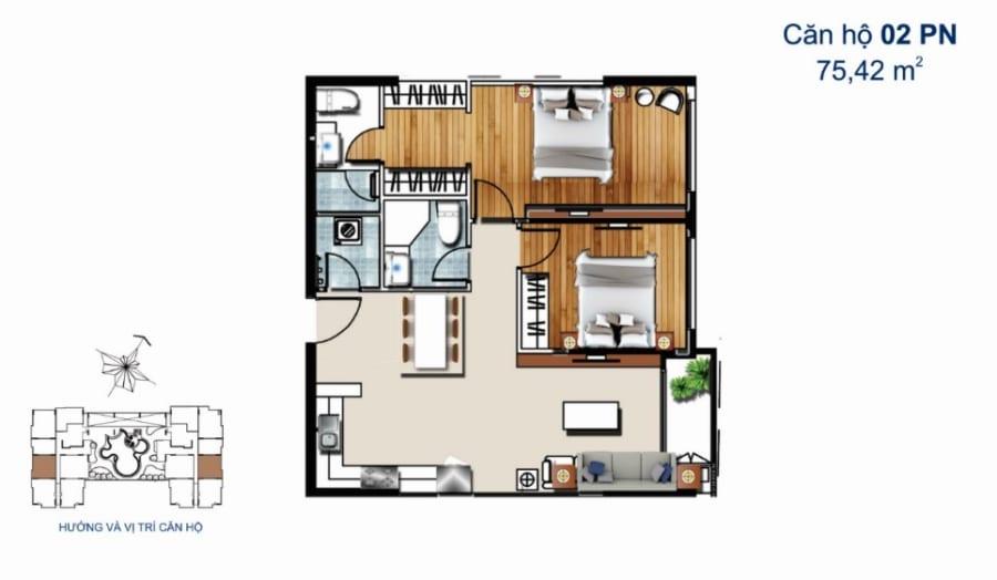 Thiết kế căn hộ De Capella 2PN 75.42m2