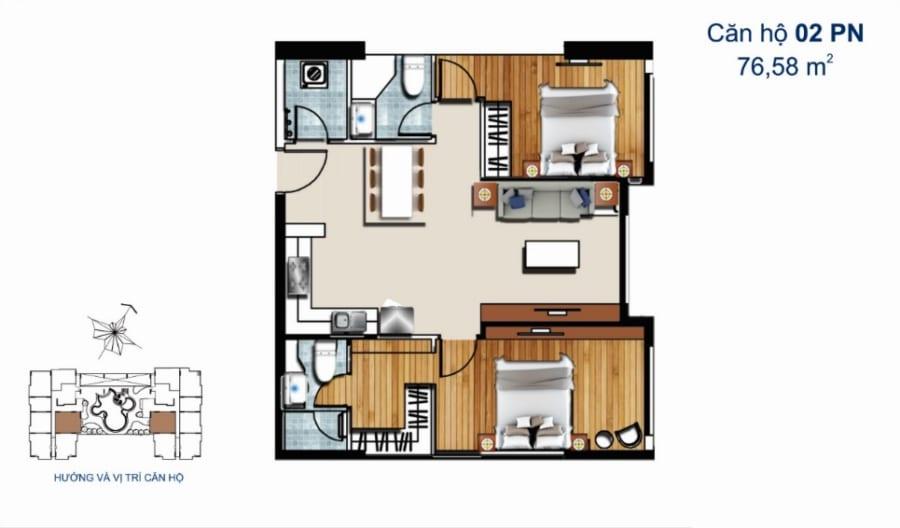 Thiết kế căn hộ De Capella 2PN 76.58m2