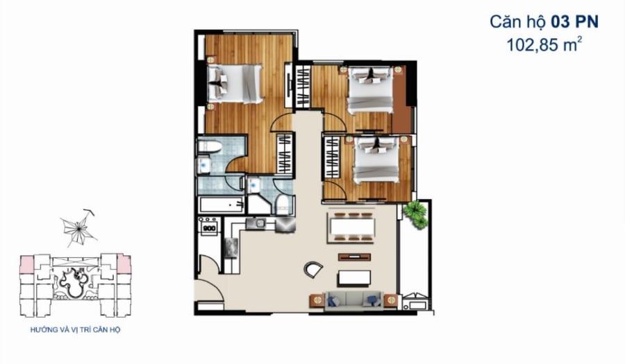 Thiết kế căn hộ De Capella 3PN 102.85m2