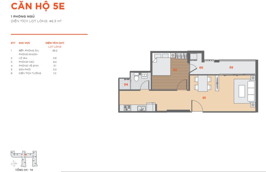 Thiết kế căn hộ Hausbelo 1PN ảnh 4