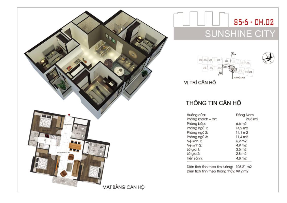 Thiết kế căn hộ Sunshine City Sài Gòn 3PN
