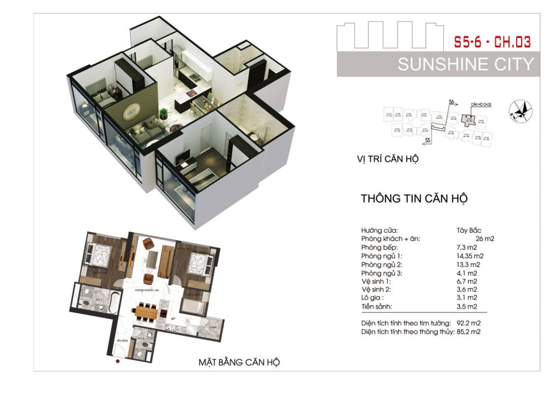 Thiết kế căn hộ Sunshine City Sài Gòn 2PN