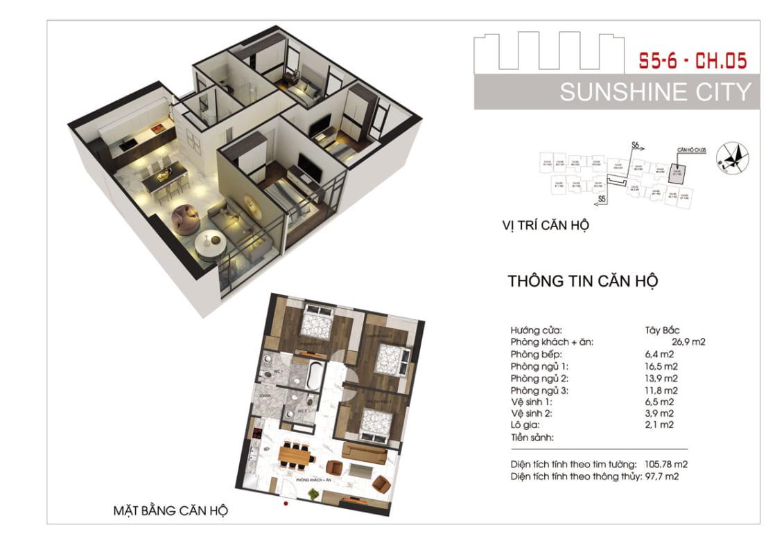 Thiết kế căn hộ Sunshine City Sài Gòn 3PN -Ảnh 2