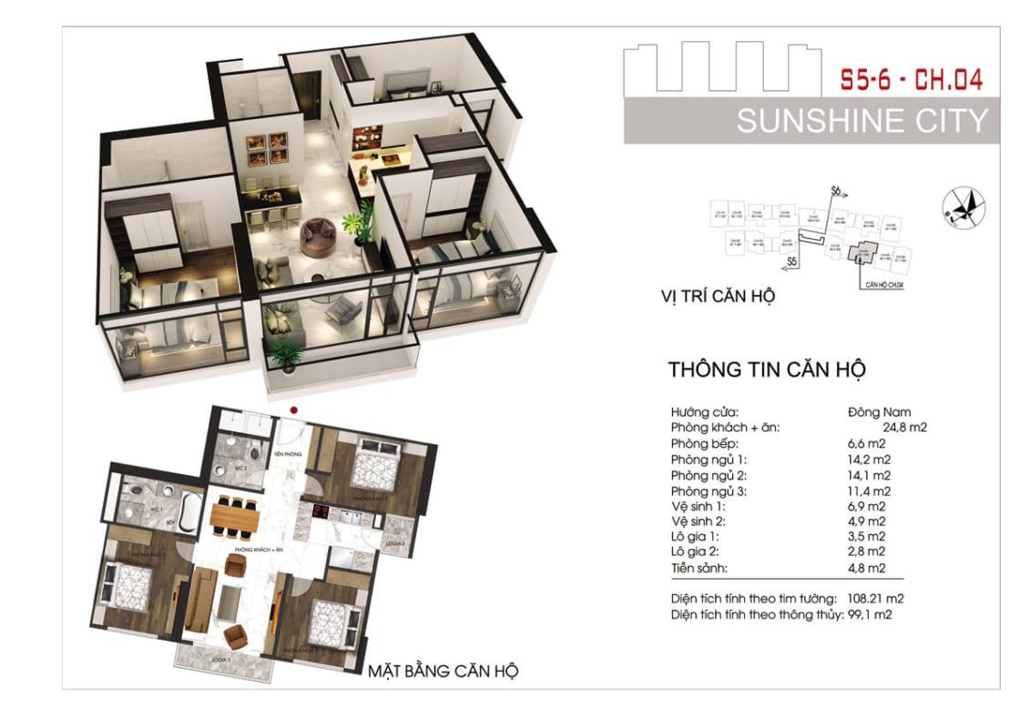 Thiết kế căn hộ Sunshine City Sài Gòn 3PN -Ảnh 1