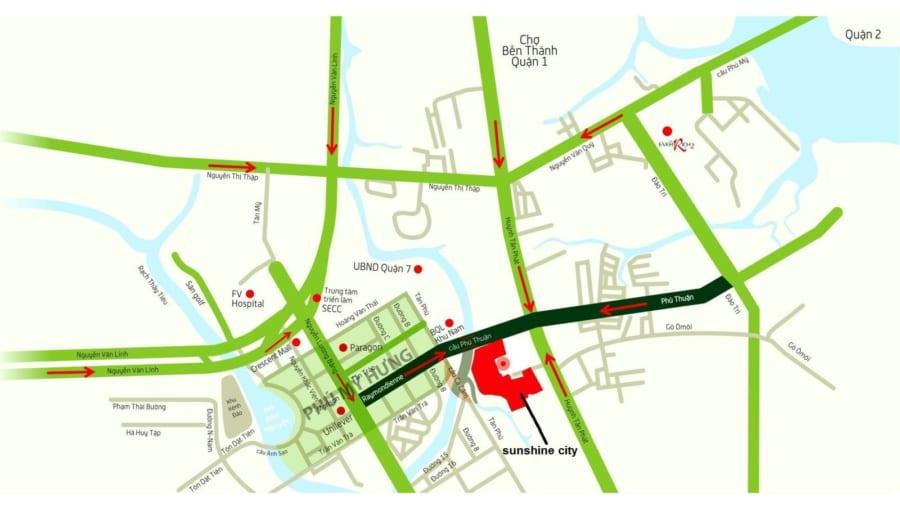 Vị trí dự án căn hộ Sunshine City Sài Gòn Quận 7