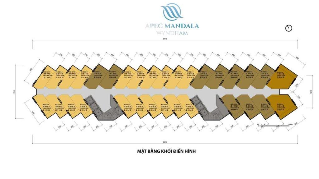 Mặt bằng tầng dự án Condotel Apec Mandala Wyndham Mũi Né