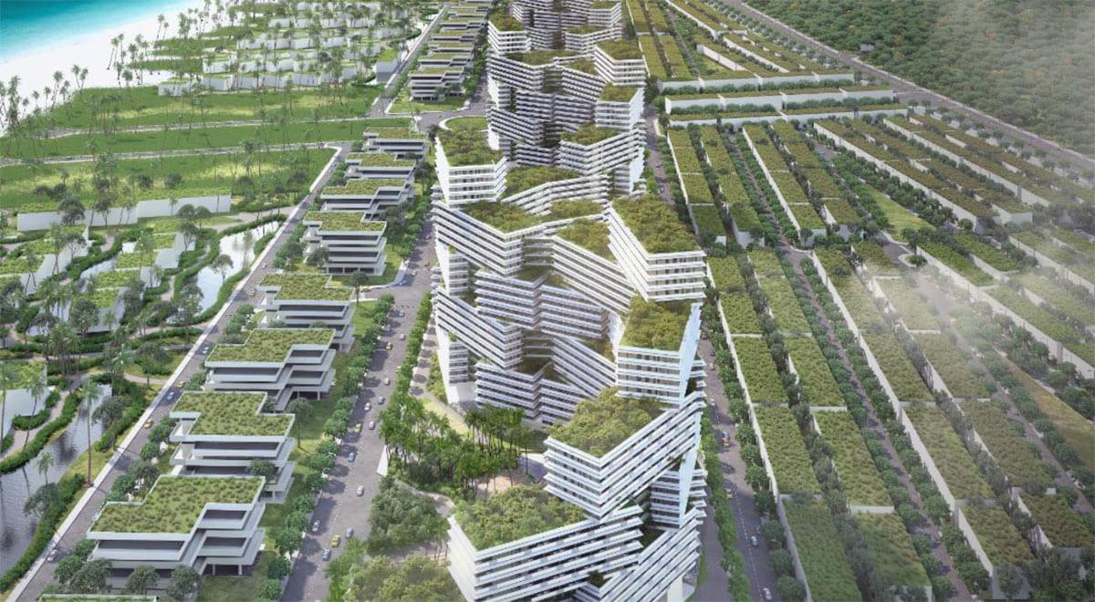 Phối cảnh khu biệt thự biển trong dự án Thanh Long Bay