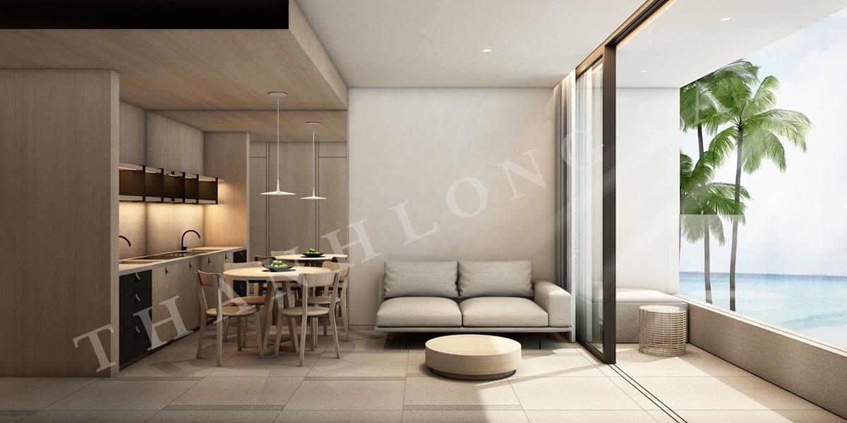 Phòng khách căn hộ 2PN Sky Garden dự án Thanh Long Bay