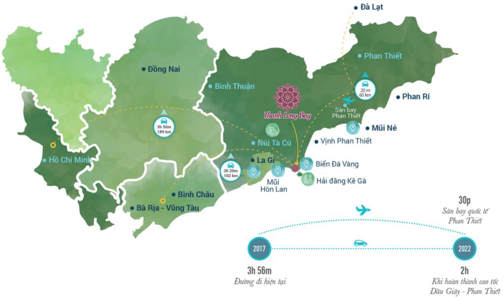 Vị trí đắc địa tại vùng kinh tế phía Nam của Thanh Long Bay