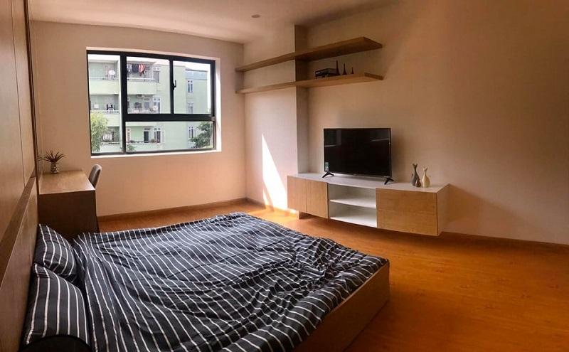 Không gian phòng ngủ ấm cúng và được bàn giao hoàn thiện.
